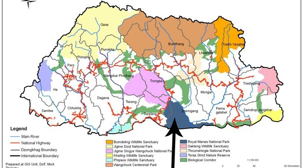 Map of Bhutan, Royal Manas National Park Map, Manas National Park Map