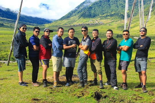 Nima with his colleagues of Bhutan Swallowtail